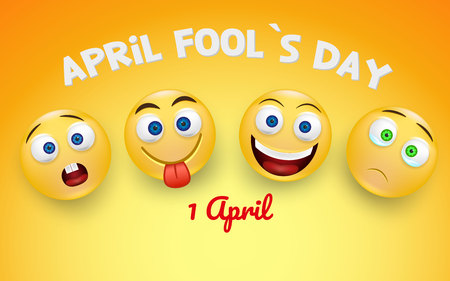 April Fools Day banner with four different emojis on yellow background. Vector illustration.