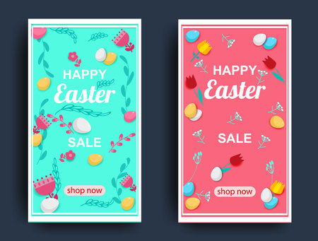 Happy easter. Sale Banner with flowers and egg s, Poster, Flyer. Vector illustration.