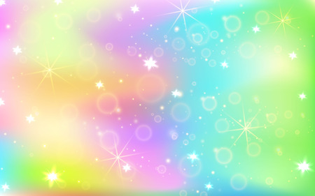 Unicorn background with rainbow mesh. Kawaii universe banner in princess colors. Fantasy gradient backdrop with hologram. Holographic unicorn background with magic sparkles, stars and blurs.