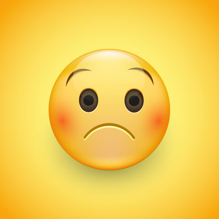 Emoji face that is a little bit sad, with a slight frown and neutral eyes on yellow background