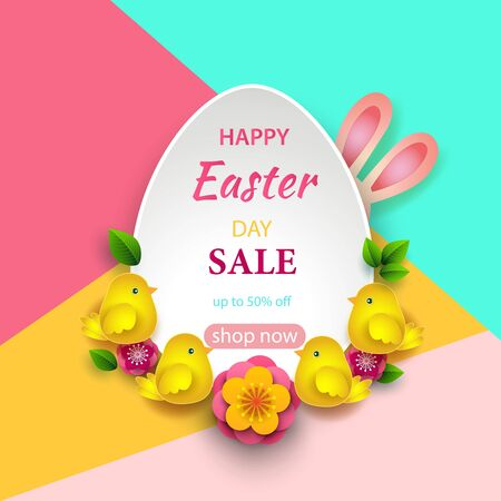 Easter greeting card with frame in the form of eggs, paper spring flowers and butterflies on a colorful modern geometric background. Vector illustration. Place for your text.