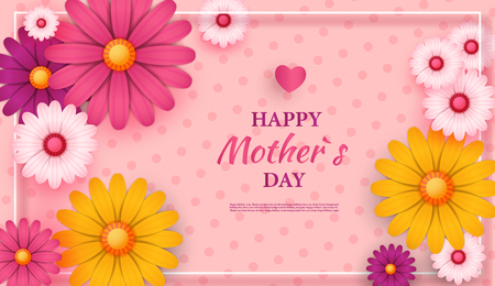 Mother's day greeting card with square frame and paper cut flowers on colorful modern geometric background vector illustration, place for your text. Illustration