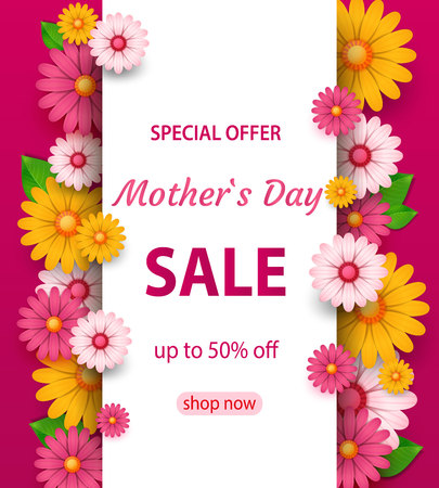 spring sale s banner template with paper flower on colorful backgruond illustrationmothers day sale