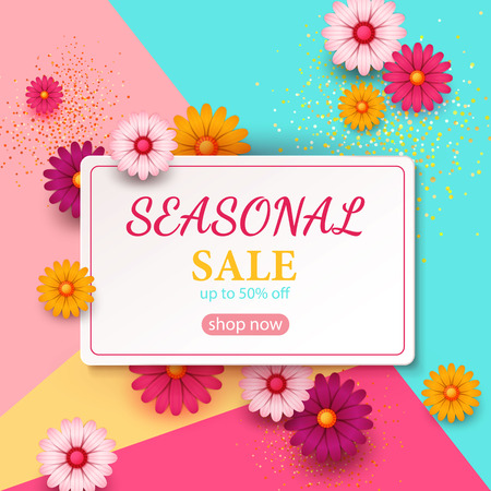 Spring sale s banner template with paper flower on colorful backgruond illustration
