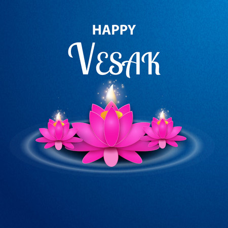 Illustration of Happy Vesak Day or Buddha Purnima Background with pink flowers on blue.