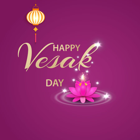 Illustration of Happy Vesak Day or Buddha Purnima Background with pink flower and lantern.