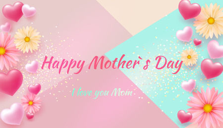 Mothers Day greeting card with square frame and paper cut flowers on colorful modern geometric background. Spring sale s banner. Vector illustration. Place for your text. Illustration