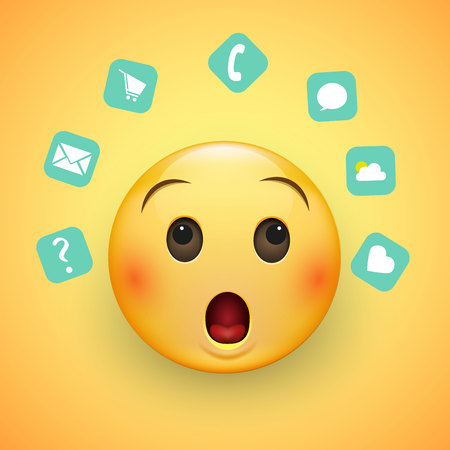 Emoji's face, with a surprised look and wide eyes. Around him are icons depicting the everyday affairs of a person. On a yellow background. Vector illustration