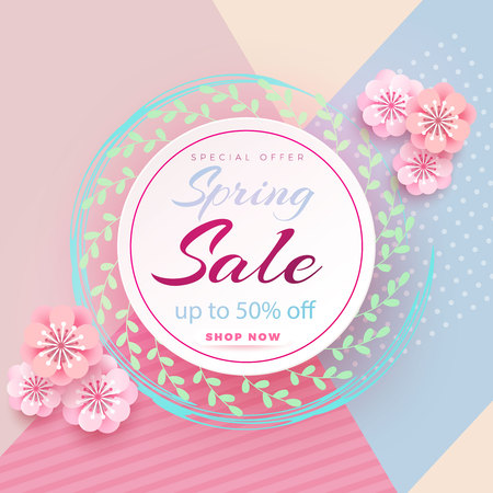 Spring sale s banner template with paper flower on colorful backgruond illustration.