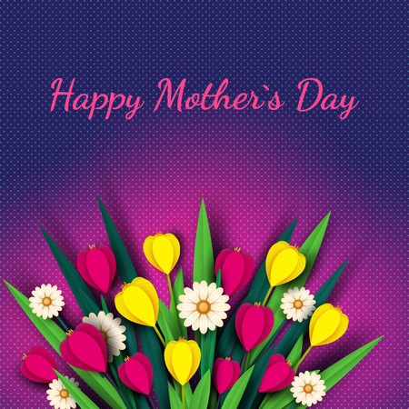Happy Mothers day greeting card. Paper cut flowers tulips and chamomile, holiday background. Vector illustration.