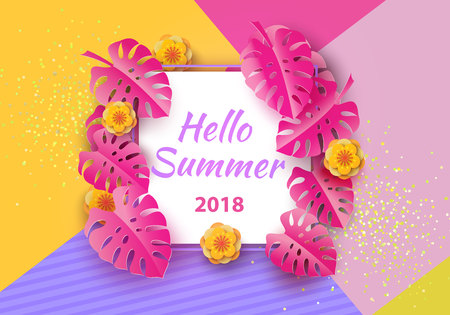 Hello, summer typographic design with abstract forms of paper cutting and tropical leaves and flowers. Bright neon background. Template for a banner, postcard, poster. Vector illustration.