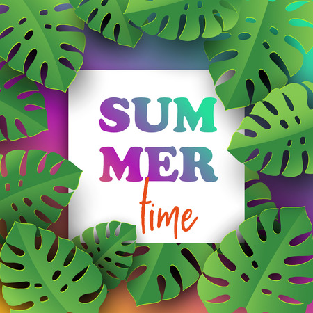 Hello summer typographic design with abstract forms of paper cutting and tropical leaves. Time to rest and have fun.Template for banner, card, poster. Vector illustration.