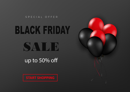 Black friday sale poster with shiny balloons on a dark background with embossed text. Vector illustration.
