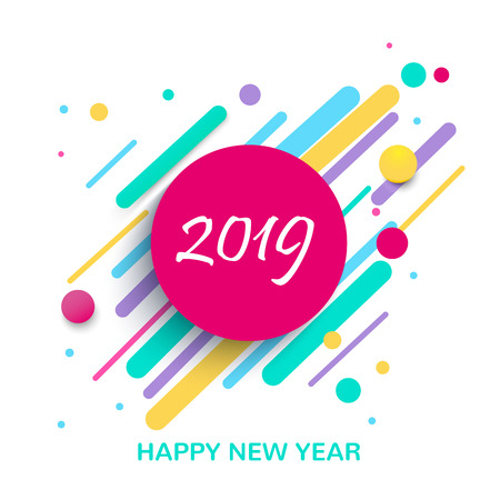 Creative design of a New Year card in 2019 on a modern background. Bright poster in the style of memphis. A base of color geometric elements. Vektoros illusztráció