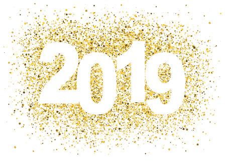 2019 Happy New Year background with golden glitter number. Christmas winter holidays design. Seasonal greeting card, calendar, brochure template. Zdjęcie Seryjne - 120929636