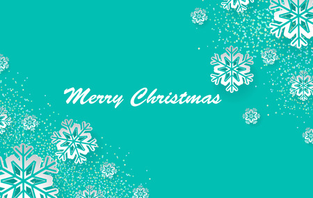 Christmas holiday design with paper cut snowflake style. Gentle green background with greeting text. Vector i Ilustração