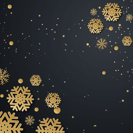 Christmas holiday design with paper cut snowflake style. Refined dark background with gold greeting text. Vector illustration Ilustração