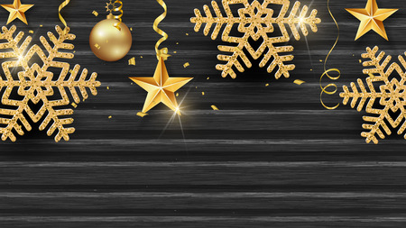 Christmas holiday design with paper cut snowflake style. Exquisite wooden dark background with golden snowflakes. Place for your text. Vector