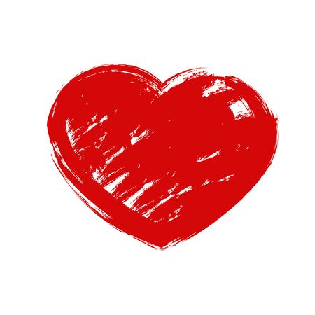 Vector illustration of grunge red heart.Brush imitation Vektorové ilustrace