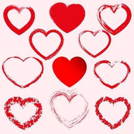 Hand getekende harten. Ontwerpelementen voor Valentijnsdag.