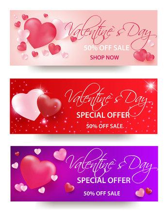 Fondo de venta de día de San Valentín con globos en forma de corazón. Ilustración vectorial Fondos de pantalla Flyers, invitación, carteles, pancartas de folletos
