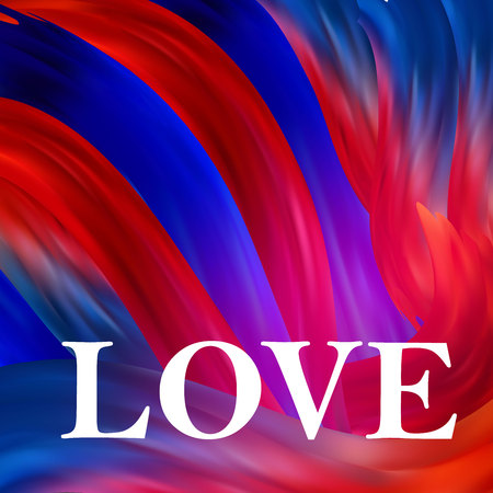Bright red-blue futuristic background. Happy Valentine s Day. Love inscription. Imitation of brush strokes. Vector Illusztráció
