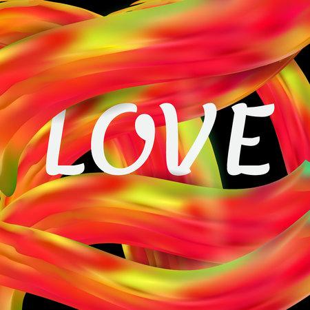 Bright red-orange futuristic background. Happy Valentine s Day. Inscription love. Imitation brush strokes. Vector illustration