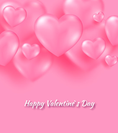 Pink valentine s day background with tender 3d hearts on pink color. Vector illustration Cute love banner or postcard. Place for text