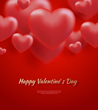 Red valentine s day background with 3d hearts on red. Vector illustration Cute love banner or postcard. Place for text