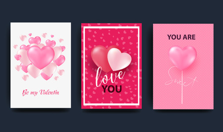 A set of cards for the celebration of Valentine s Day. Bright 3D hearts with inscriptions. A place for your text.