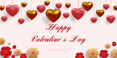 Realistic 3D colorful red and gold romantic Valentine s day hearts background, floating Happy Valentine s Day greetings. Vector illustration