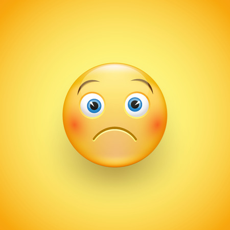 A little sad face of emoticons with a slight frown and neutral eyes on a yellow background. Funny sad kid. Vector illustration. Illusztráció