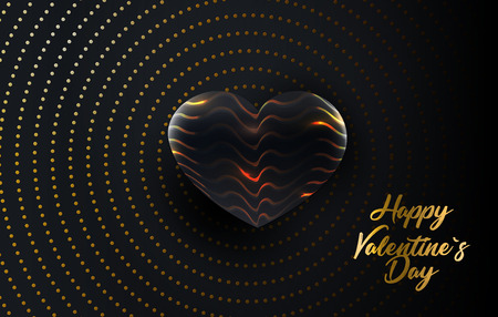 Happy Valentine s Day. Vector holiday illustration of paper golden letters with a textured black heart shape on a shiny background. Festive banner or cover design. Love concept
