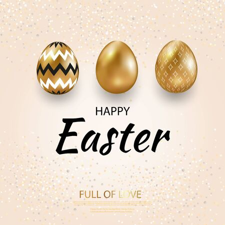 Happy Easter greeting card, golden eggs set with geometric pattern. Vector illustration Zdjęcie Seryjne - 143652800