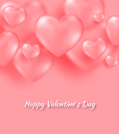 Coral valentine s day background with tender 3d hearts on coral color. Vector illustration Cute love banner or postcard. Place for text