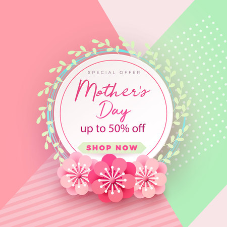 Mother s day card with beautiful blooming flowers on a gentle geometric background in pastel colors. Happy mother s day. Holiday sale. Vector illustration Illustration