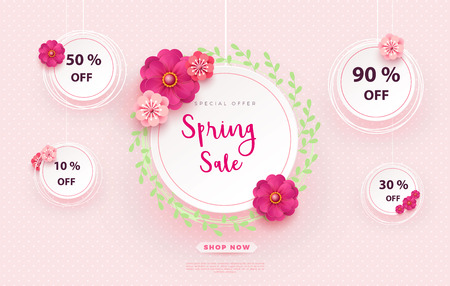 Spring sale s banner template with paper flower on colorful backgruond illustration.Mother s Day Sale