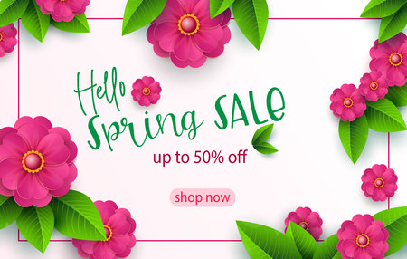Spring sale banner template with paper cut flower for online woman shopping, vector illustration. Spring sale. Place for your text. Vector illustration.