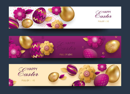 Easter card with gold ornate golden eggs on a light background. Vector .Place for your text. Golden eggs with small floral and geometric patterns