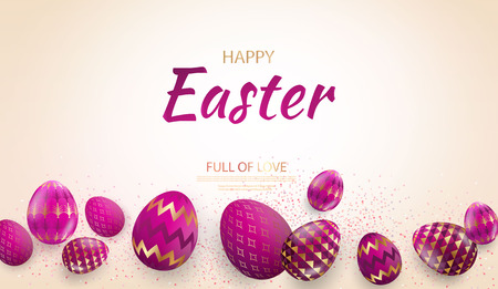 Easter card with gold ornate golden eggs on a light background. Vector .Place for your text. Golden pink eggs with small floral and geometric patterns