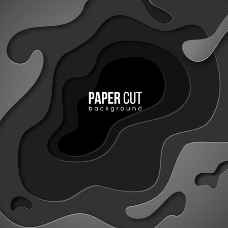 Vertical banner with 3d abstract black gray background with paper cut shapes. Vector design layout for business presentations, flyers, posters and invitations. The colorful art of carving. Paper cut style Ilustracja