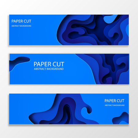 Horizontal banners with 3D abstract blue background with paper cut shapes. Vector design layout for business presentations, flyers, posters and invitations. Colorful carving art