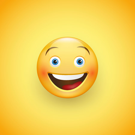Smiling face with blue eyes. Expression of joy, laughter. Vector illustration