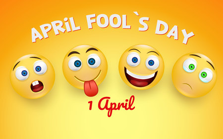 April fool s day card - crazy facial expression on light coloured background - April fool s design template.Vector.