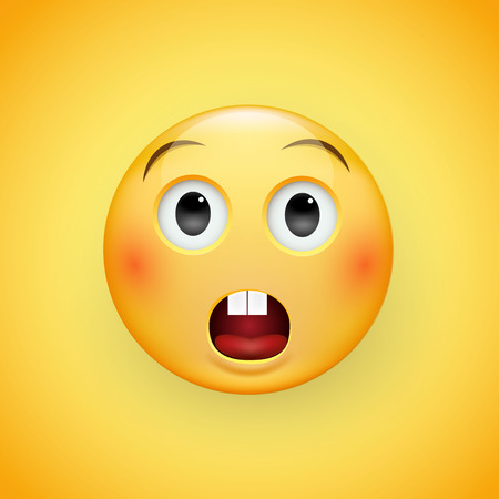 Perplexed sad face of emoticons with a slight frown and neutral eyes on a yellow background. Sad man. Expression of sadness, fear, surprise. Vector illustration