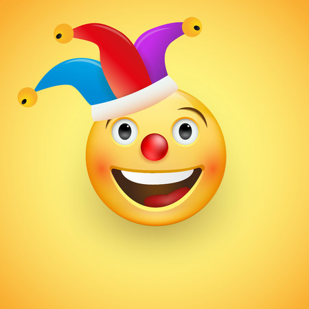 Laughing Face with a red nose in a clown hat. Fool s Day. Happy April, 1. Vector illustration. Ilustração