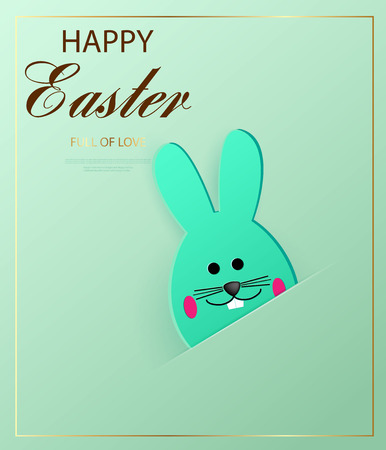 Happy Easter. Easter bunny looking at the green background. Template for greeting card. Paper cut style. Vector Ilustracja