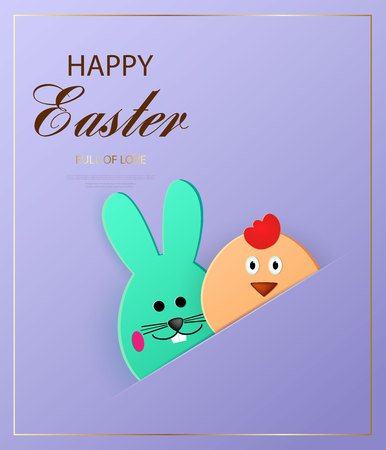 Happy Easter. Easter bunny and chick looking at the purple background. Template for greeting card. Paper cut style. Vector