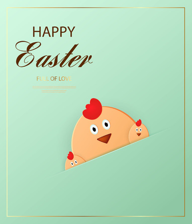 Happy Easter. Easter chick looking at the purple background. Template for greeting card. Paper cut style. Vector Ilustracja