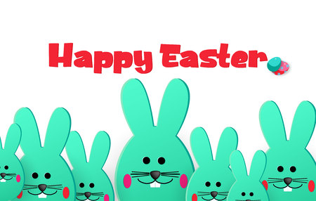 Happy Easter. Easter large and small bunnies looking away on a white background. Template for greeting card. Paper cut style. Vector Ilustracja
